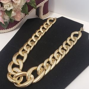 Vintage Style Big Gold tone Chain Necklace